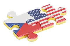 USA and Czech Republic puzzles from flags, relation concept. 3D Stock Photos
