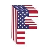 USA 3d łacińskiego abecadła chorągwiany list F Textured chrzcielnica Fotografia Royalty Free