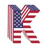 USA 3d łacińskiego abecadła chorągwiany list K Textured chrzcielnica Zdjęcia Royalty Free