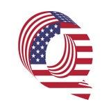 USA 3d łacińskiego abecadła chorągwiany list Q Textured chrzcielnica Zdjęcie Royalty Free