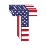 USA 3d łacińskiego abecadła chorągwiany list T Textured chrzcielnica Zdjęcia Royalty Free