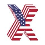 USA 3d łacińskiego abecadła chorągwiany list X Textured chrzcielnica Obraz Royalty Free