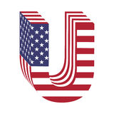 USA 3d łacińskiego abecadła chorągwiany list U Textured chrzcielnica Zdjęcia Royalty Free