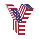 USA 3d łacińskiego abecadła chorągwiany list Y Textured chrzcielnica Zdjęcia Stock