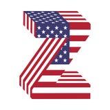 USA 3d łacińskiego abecadła chorągwiany list Z Textured chrzcielnica Zdjęcia Stock