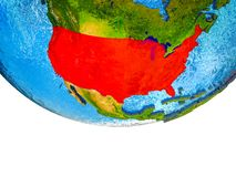USA on 3D Earth. With divided countries and watery oceans. 3D illustration stock images