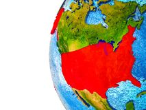 USA on 3D Earth. USA highlighted on 3D Earth with visible countries and watery oceans. 3D illustration stock image