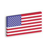 USA 3D flag hanging on the white wall withg dropped shadow. United States of America.  Stock Image