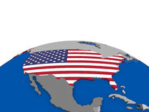 USA on 3D globe Royalty Free Stock Photography
