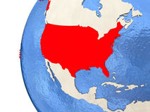 USA on 3D globe. Map of USA on globe with watery blue oceans and landmass with visible country borders. 3D illustration Stock Image