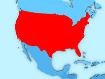 USA on 3D map Royalty Free Stock Photography