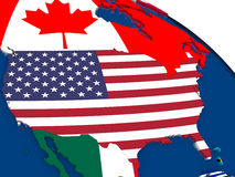 USA on 3D map with flags Royalty Free Stock Photo