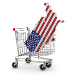 Usa 3d map into shopping cart Royalty Free Stock Images