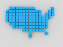 USA. 3d modeled  shape of USA composed of blue boxes Stock Photos