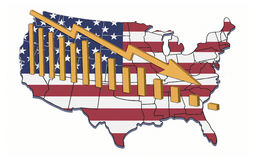USA Decline. Illustration of recession and declining trends in USA vector illustration