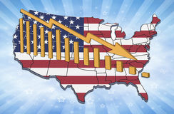 USA Decline. Illustration of recession and declining trends in USA royalty free illustration