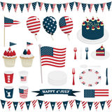 Usa decorations. Collection of usa 4th of July party decorations with cake and bunting, isolated on white Stock Photography