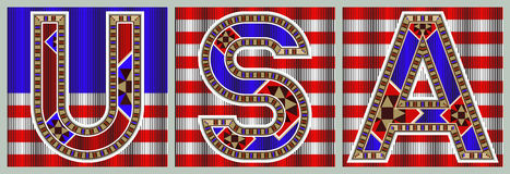USA Decorative Block Typography Flag Royalty Free Stock Image