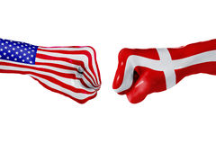 USA and Denmark flag. Concept fight, business competition, conflict or sporting events. USA and Denmark country flag. Concept fight, war, business competition Royalty Free Stock Photo