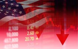 USA Der Börsekrise Amerikas roter Preispfeil hinunter Diagrammfall-/Börse von New Yorken-Analyse- oder Devisendiagrammgeschäft lizenzfreies stockbild