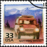 USA - 2000: devote Increase in popularity of off-road vehicles, series Celebrate the Century, 1990s. UNITED STATES OF AMERICA - CIRCA 2000: A stamp printed in Stock Images