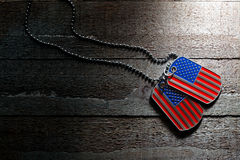 USA dog tags. On wooden background Stock Photography