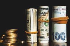 USA dolarów banknotów tekstura Tekstury USA dolary i Turecki pieniądze Tło różni dolarowi rachunki obraz royalty free