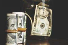 USA dolarów banknotów tekstura Tekstury USA dolary Tło różni dolarowi rachunki zdjęcie stock