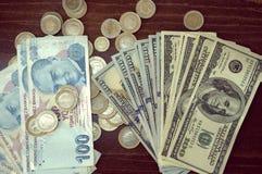 USA dolarów banknoty tekstura i turecczyzna pieniądze Tekstury USA dolary Tło różni dolarowi rachunki fotografia royalty free
