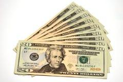 20 USA dolarów W górę, pieniądze, Gotówkowa waluta fotografia royalty free