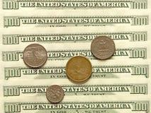 USA dollar banknotes and coins. Royalty Free Stock Photo