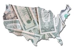 USA in dollar bills Stock Images