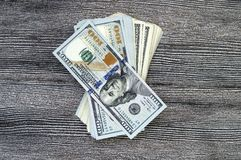 USA dollar, USA $ 100, gamla och nya 100 dollarbilder, stora dollarbilder i olika begrepp för finans och materielexchang Royaltyfri Fotografi