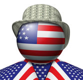 USA Dollar Hat. Illustration of a figure made up of the American flag with a hat made of dollars Royalty Free Stock Image