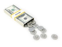 Usa dollar money box on white isolated background Stock Photo