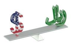 USA-Dollar oder Saudi Riyal, Balancenkonzept Lizenzfreies Stockbild