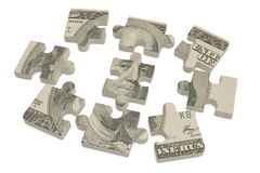 USA dollar puzzle on white background.3D illustration. USA dollar puzzle on white background. 3D illustration stock illustration