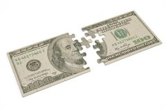USA dollar puzzle on white background.3D illustration. USA dollar puzzle on white background. 3D illustration royalty free illustration