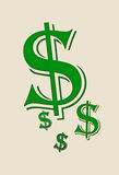 USA dollar symbols. Dollar symbols,isolated llustration of dollar symbol on background Royalty Free Stock Image