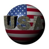 Usa dollar text on flag sphere Stock Photos