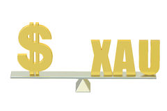 USA Dollar with XAU, balance concept. 3d Stock Image