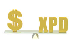 USA Dollar with XPD, balance concept. 3d Royalty Free Stock Photos