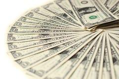 1 USA-Dollarbanknotenhaufen Stockfotos
