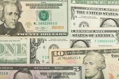 USA-Dollargeldbanknoten-Beschaffenheitshintergrund Stockbilder