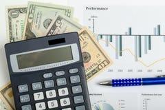 USA-Dollargeldbanknoten, -stift und -taschenrechner Lizenzfreie Stockfotos