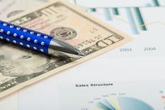 USA-Dollargeldbanknoten und -stift Lizenzfreies Stockbild