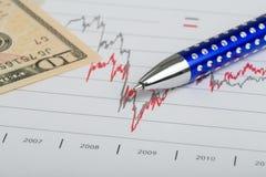 USA-Dollargeldbanknoten und -stift Stockfotos