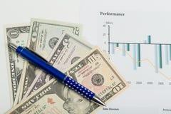USA-Dollargeldbanknoten und -stift Lizenzfreie Stockfotografie
