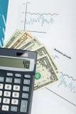 USA-Dollargeldbanknoten und -taschenrechner Lizenzfreie Stockfotografie
