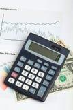 USA-Dollargeldbanknoten und -taschenrechner Lizenzfreie Stockbilder